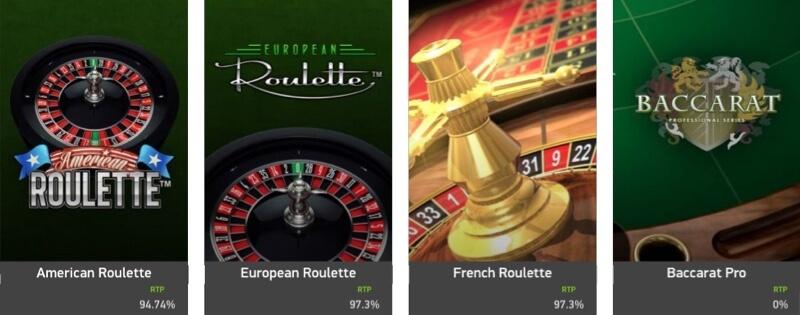 Exempel på NetEnt bordsspel