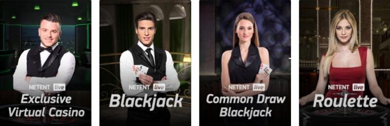 Exempel på NetEnt live casino spel