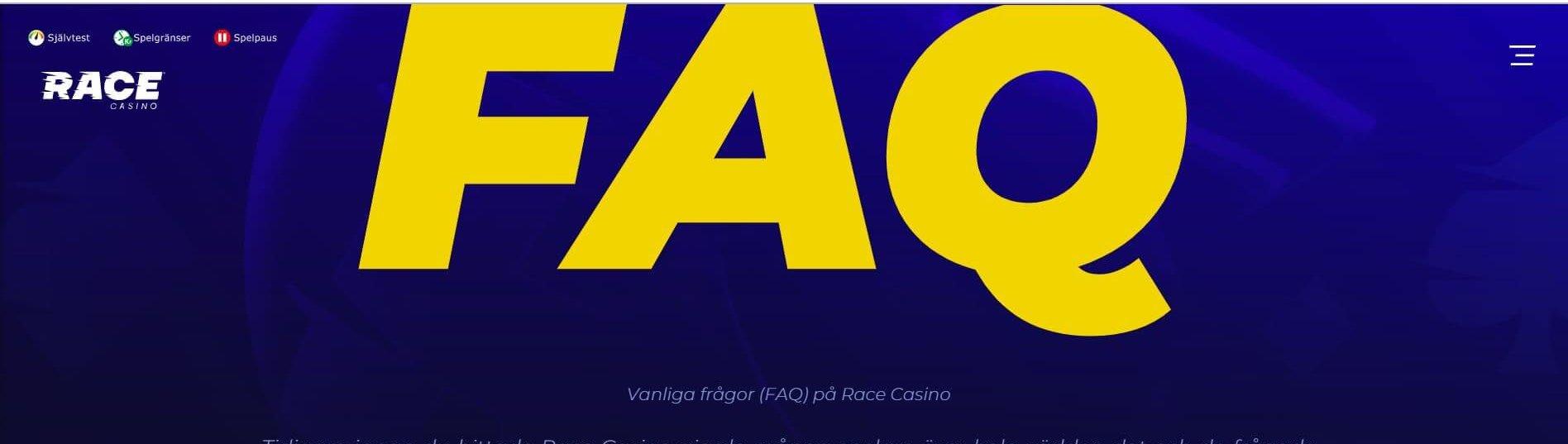 Race Casino har flertalet kontakt- och informationsvägar