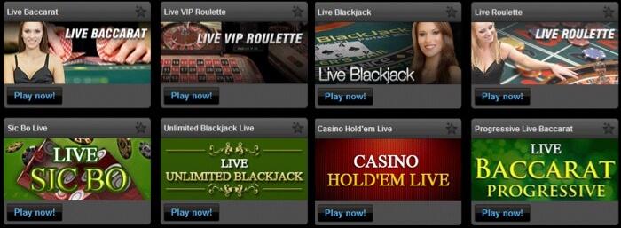Exempel på live casino spel