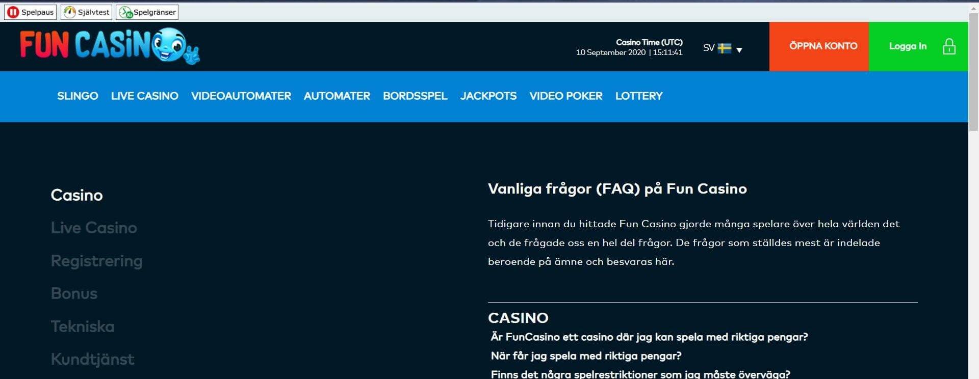 Hitta svar om allt från Live Casino till betalmetoder