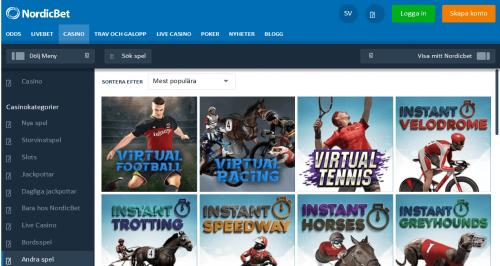 Testa Virtual Sports hos NordicBet Casino