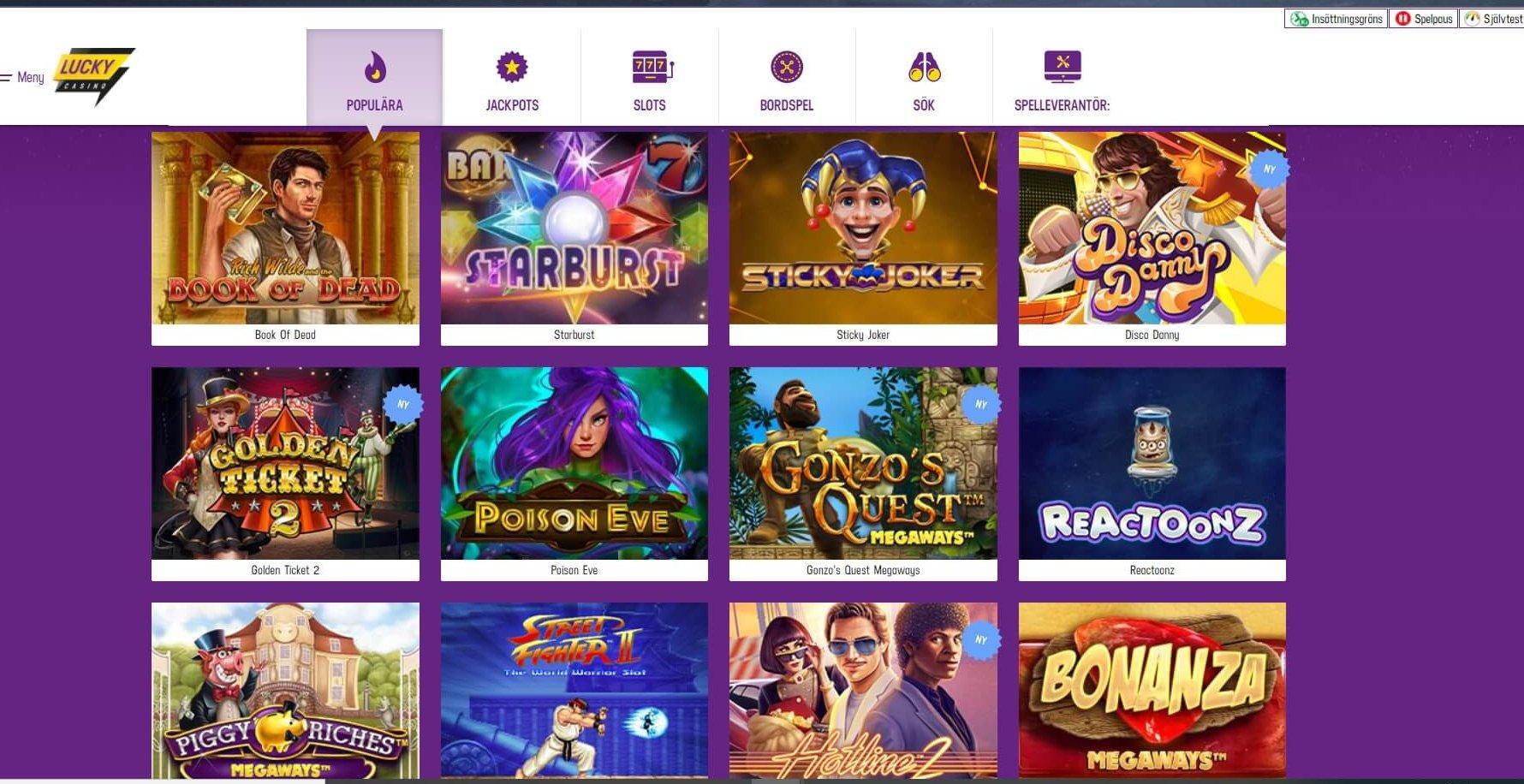 Samtliga spelkategorier är fullpackade med casinospel
