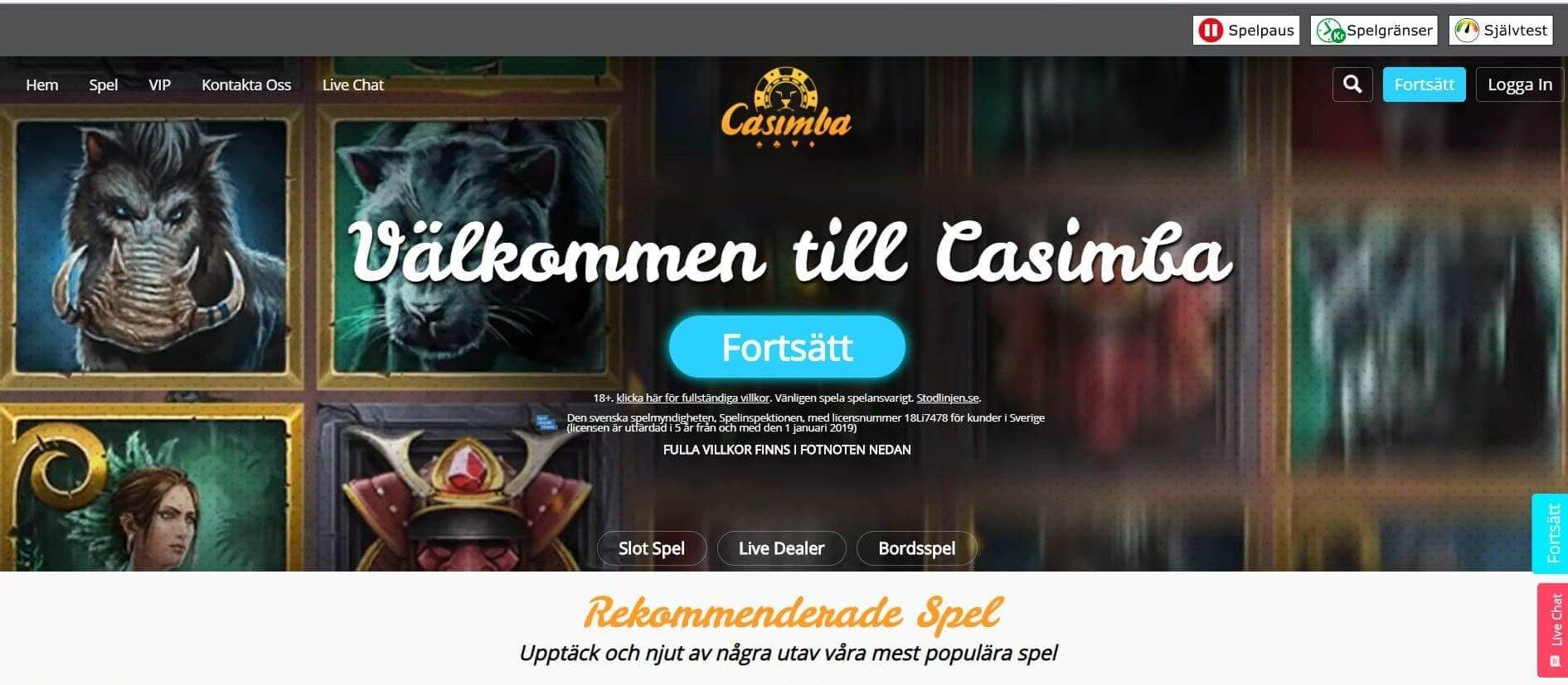 Effektfull grafik hos Casimba Casino