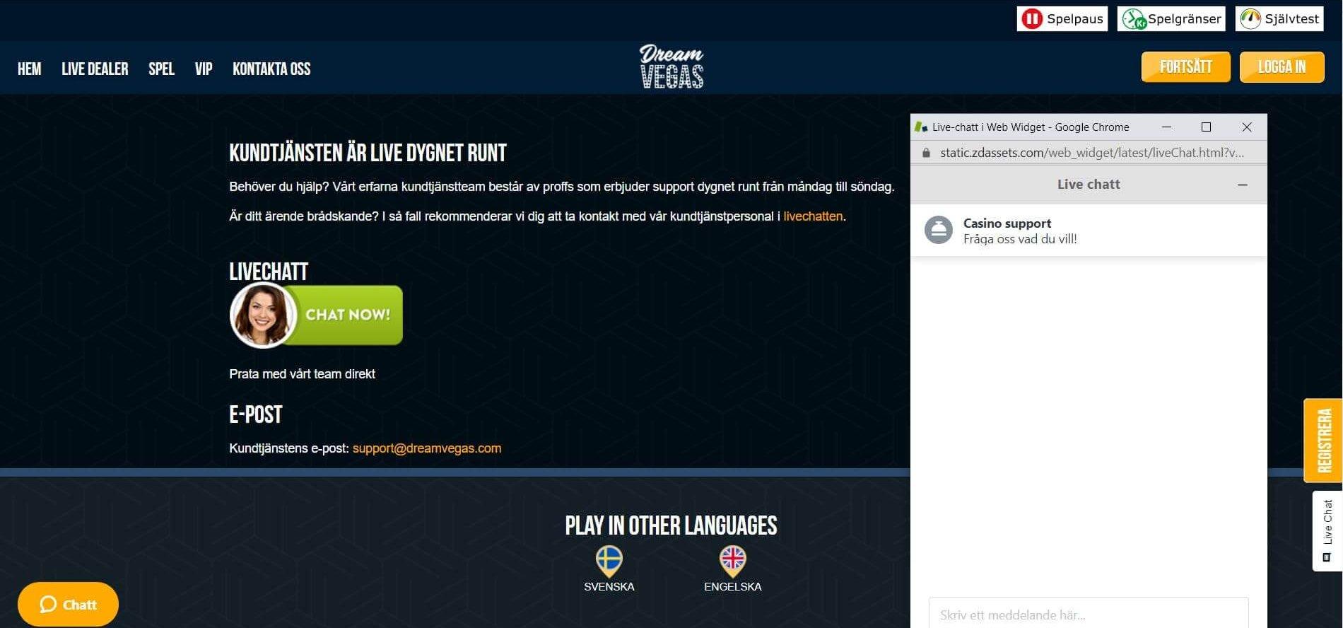 Dream Vegas erbjuder support via epost live chat
