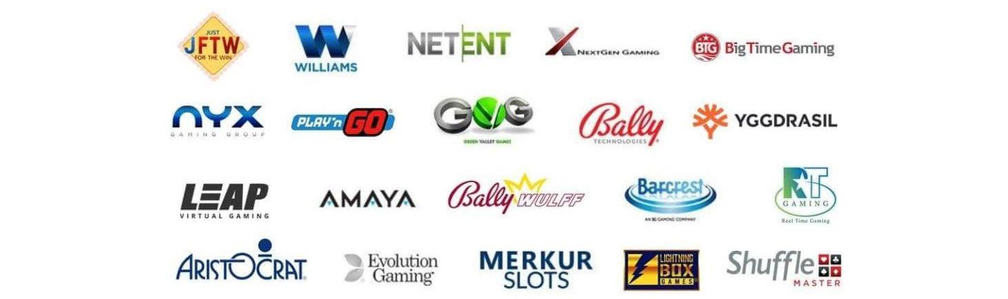 Ett antal av de utvecklare du kan njuta av hos Mega Casino