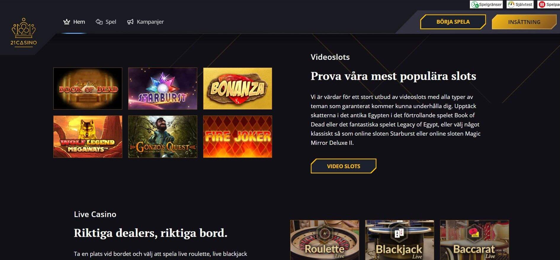 21Casino är så som ett moget online casino ska vara
