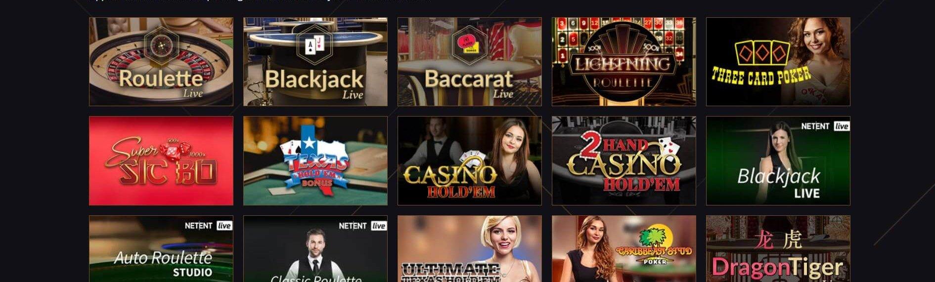 Live casino hos 21Casino består av 15 bord för dig att avnjuta
