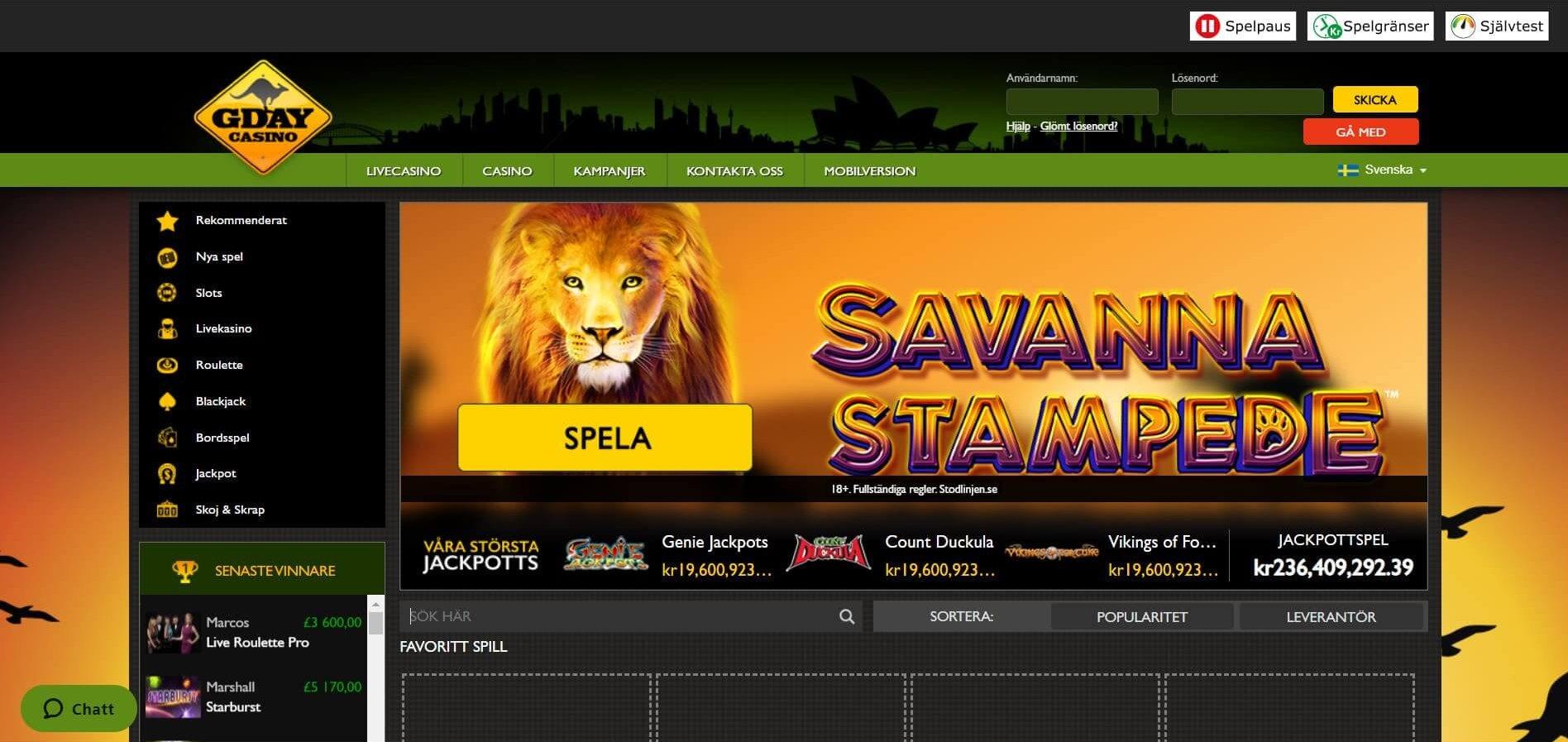GDay Casino har en speciell layout