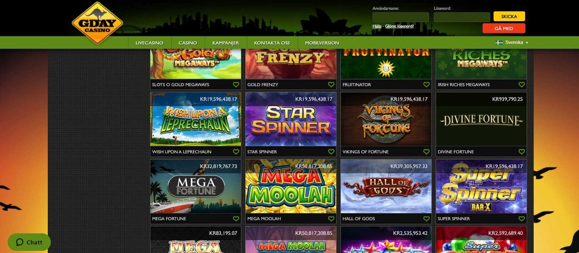 Här är 16 av GDay Casinos 37 Jackpot Slots