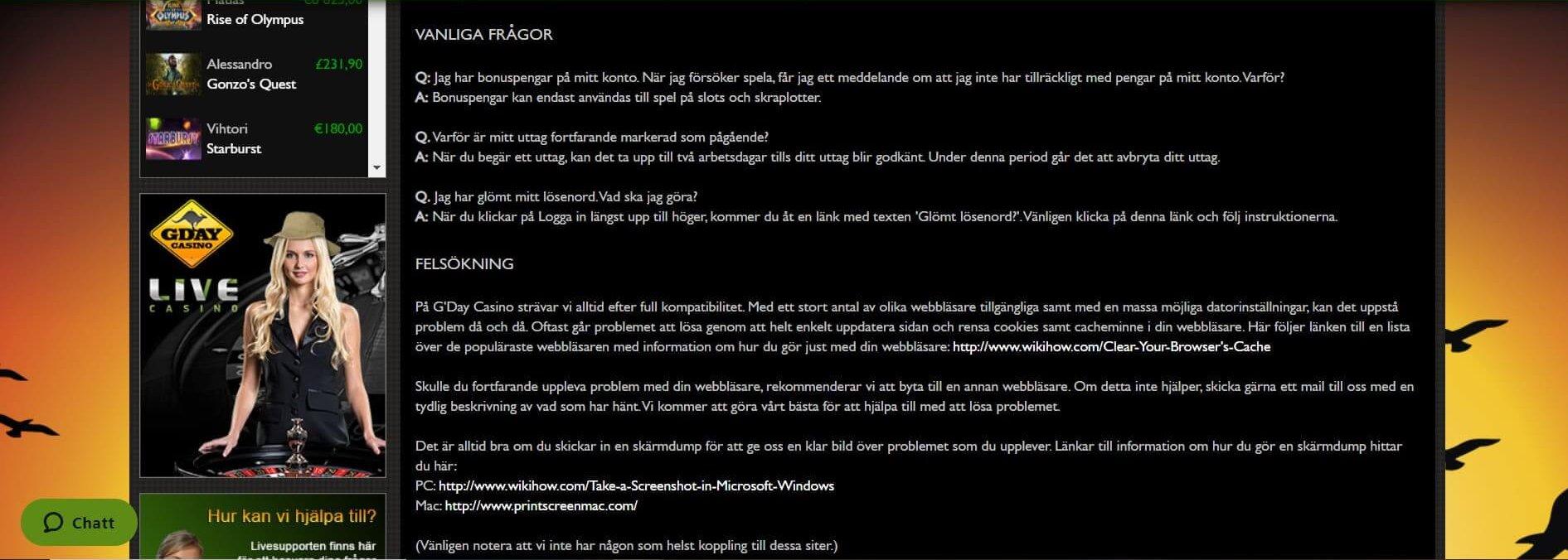 Stort minus för G'Day Casino FAQ men ett plus för info kring felsökning