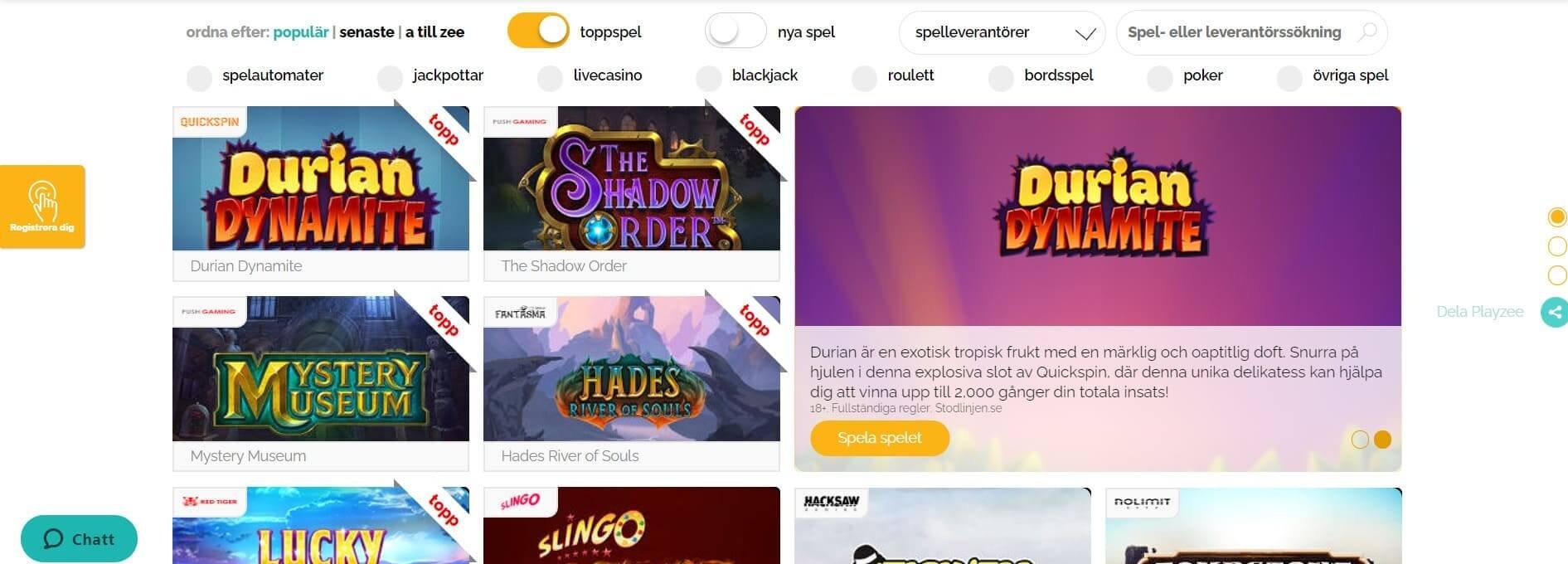 """Klicka på """"Spel"""" för att se utbud och nyheter hos Playzee"""