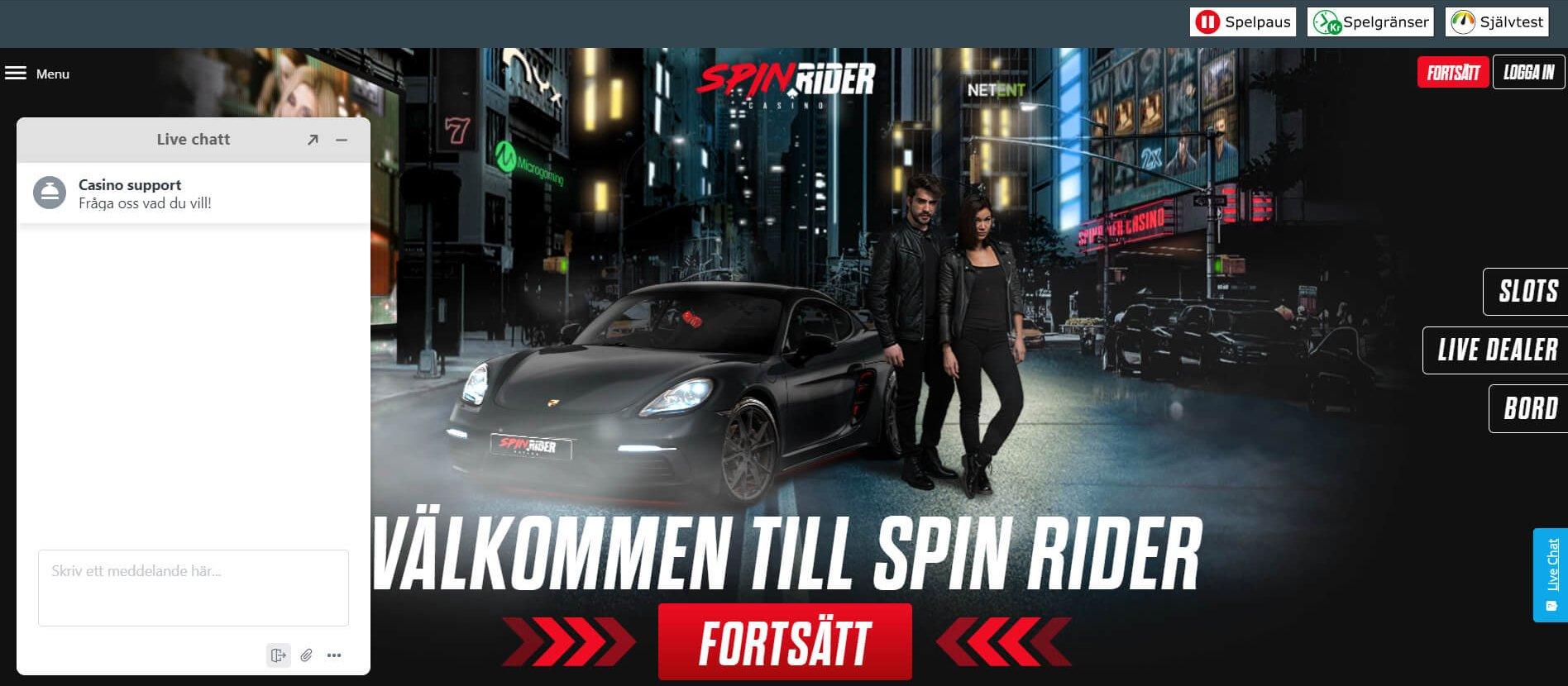 Få snabb hjälp via live chat hos Spin Rider