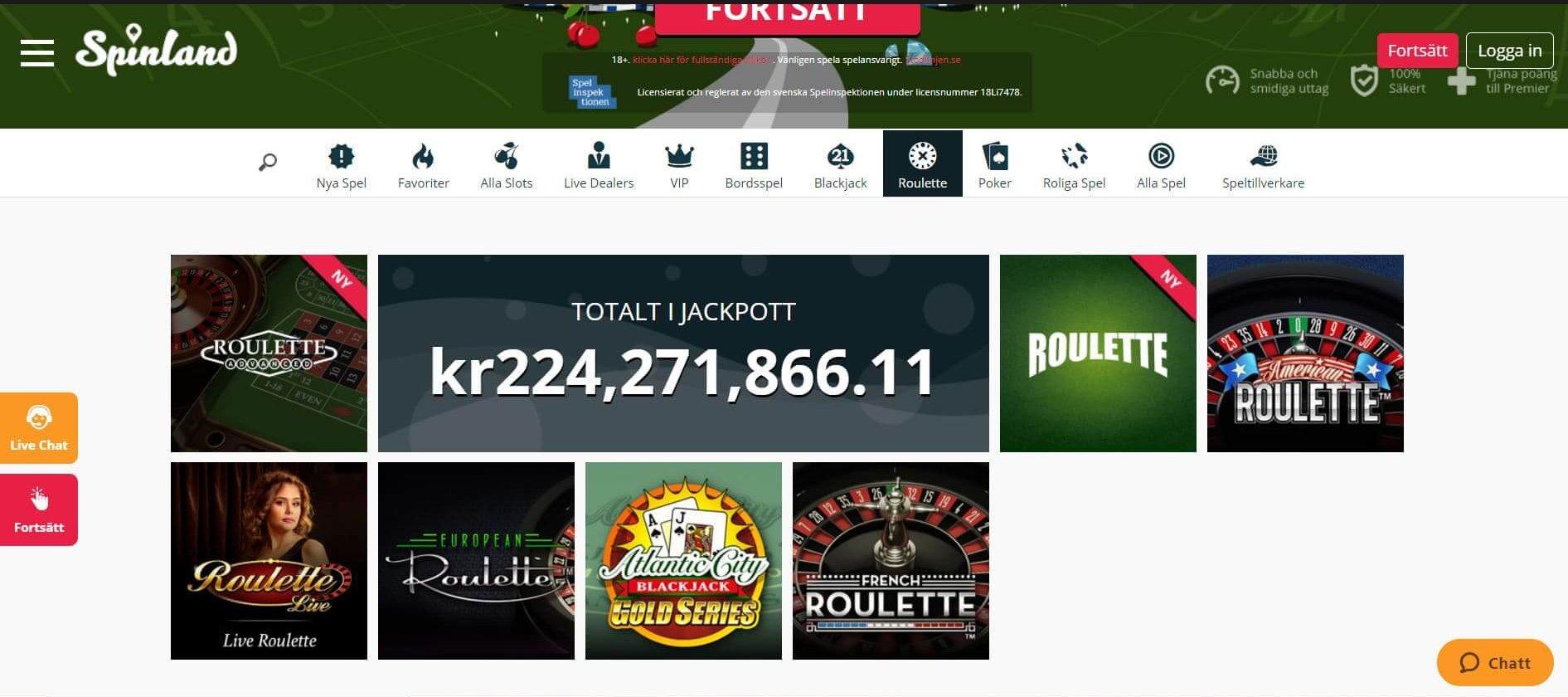 Spinland erbjuder Roulette från NetEnt Evolution