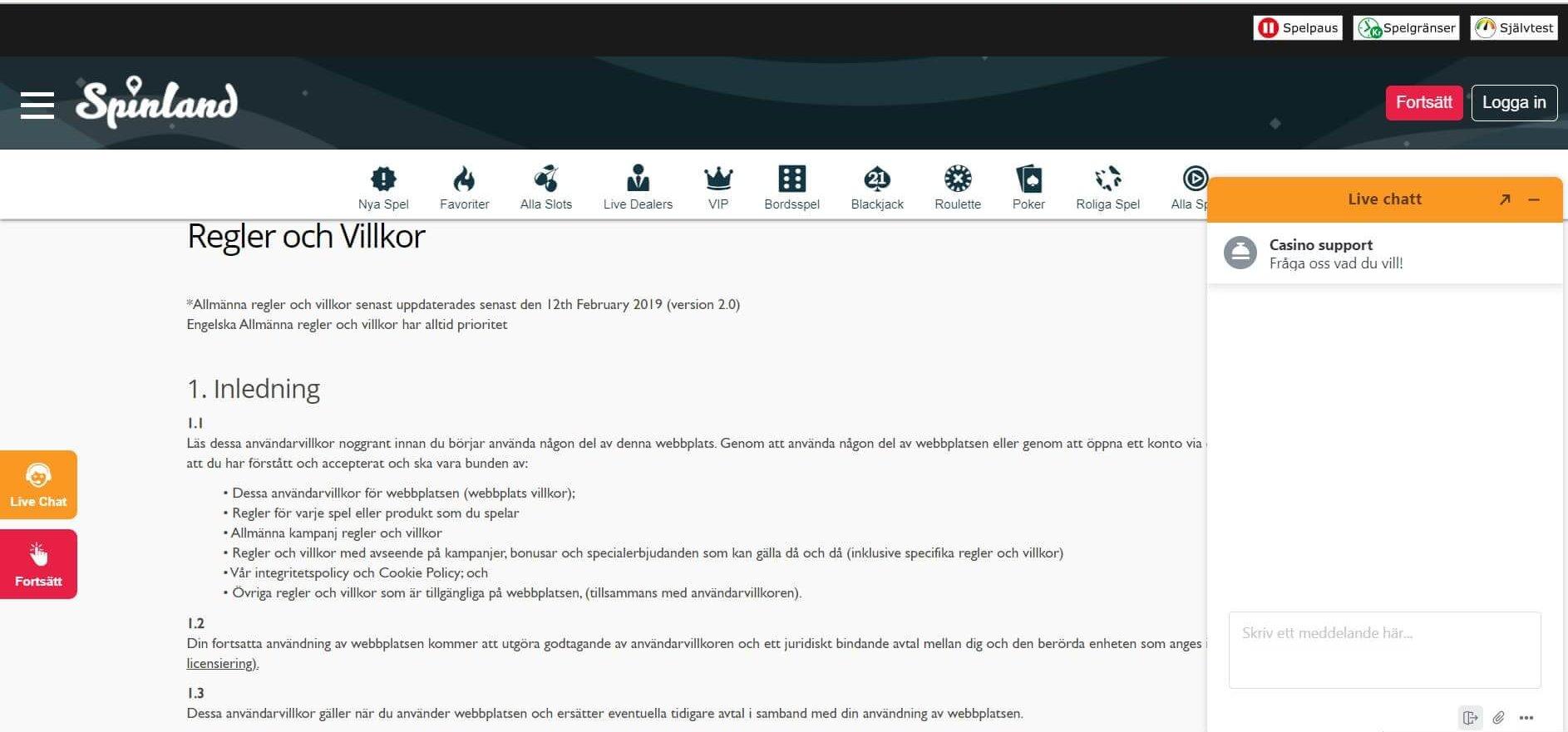 Spinlands support består av villkor live chat