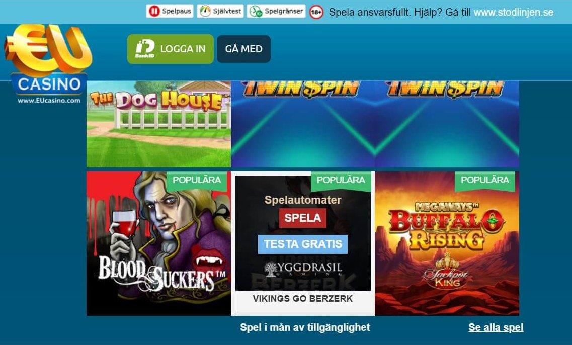 EUCasino visar utvecklarens namn om du klickar på omslagsbilden