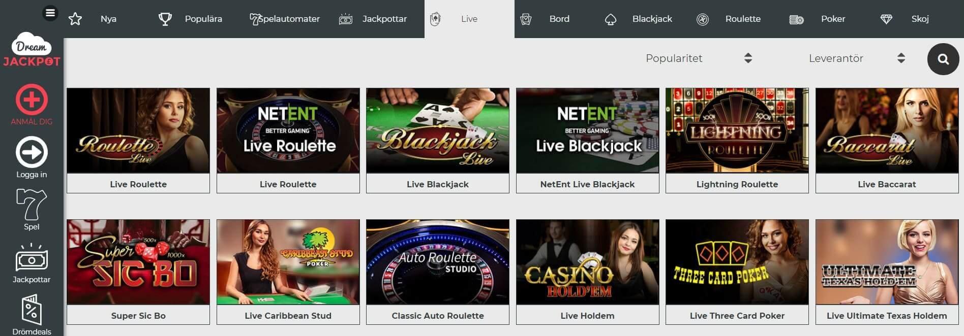 Hög klass på Dream Jackpot Casino live casino