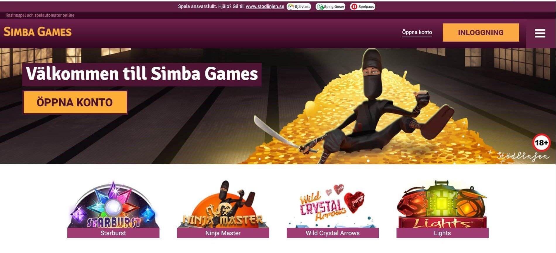 Simba Games har en annorlunda startsida