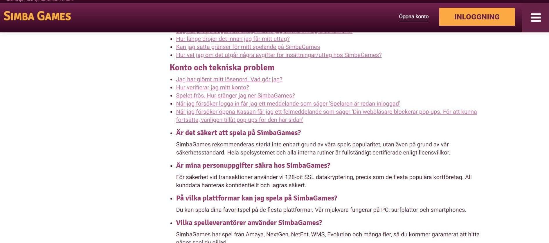 FAQ med lite info hos Simba Games