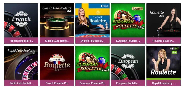 Åtta av de 22 Roulette-spel Simba Games erbjuder