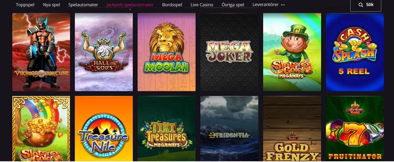 Hälften av de Jackpot Slots PlayGrand har i sitt utbud