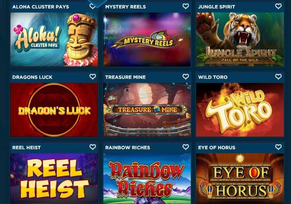 Aloha Cluster Pays, Dragons Luck och Reel Heist är några av spelautomaterna Diamond7casino erbjuder