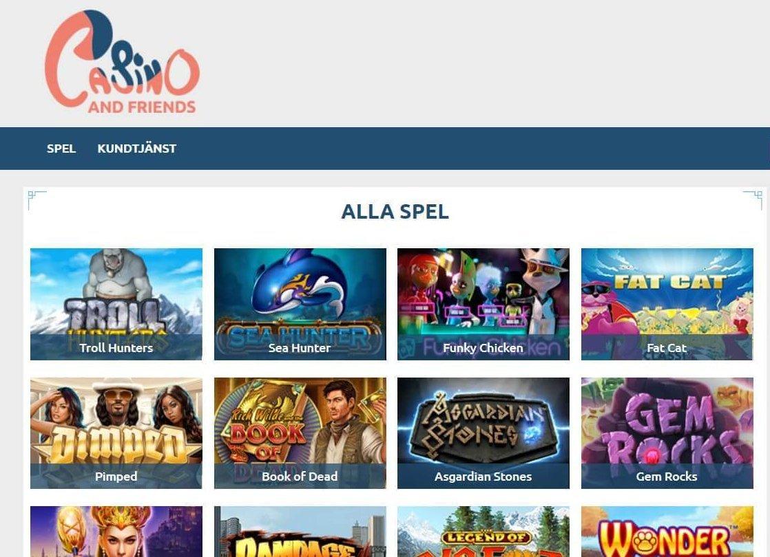 Alla spel hos Casinoandfriends ger dig tillgång till samtliga Slots och Jackpot Slots