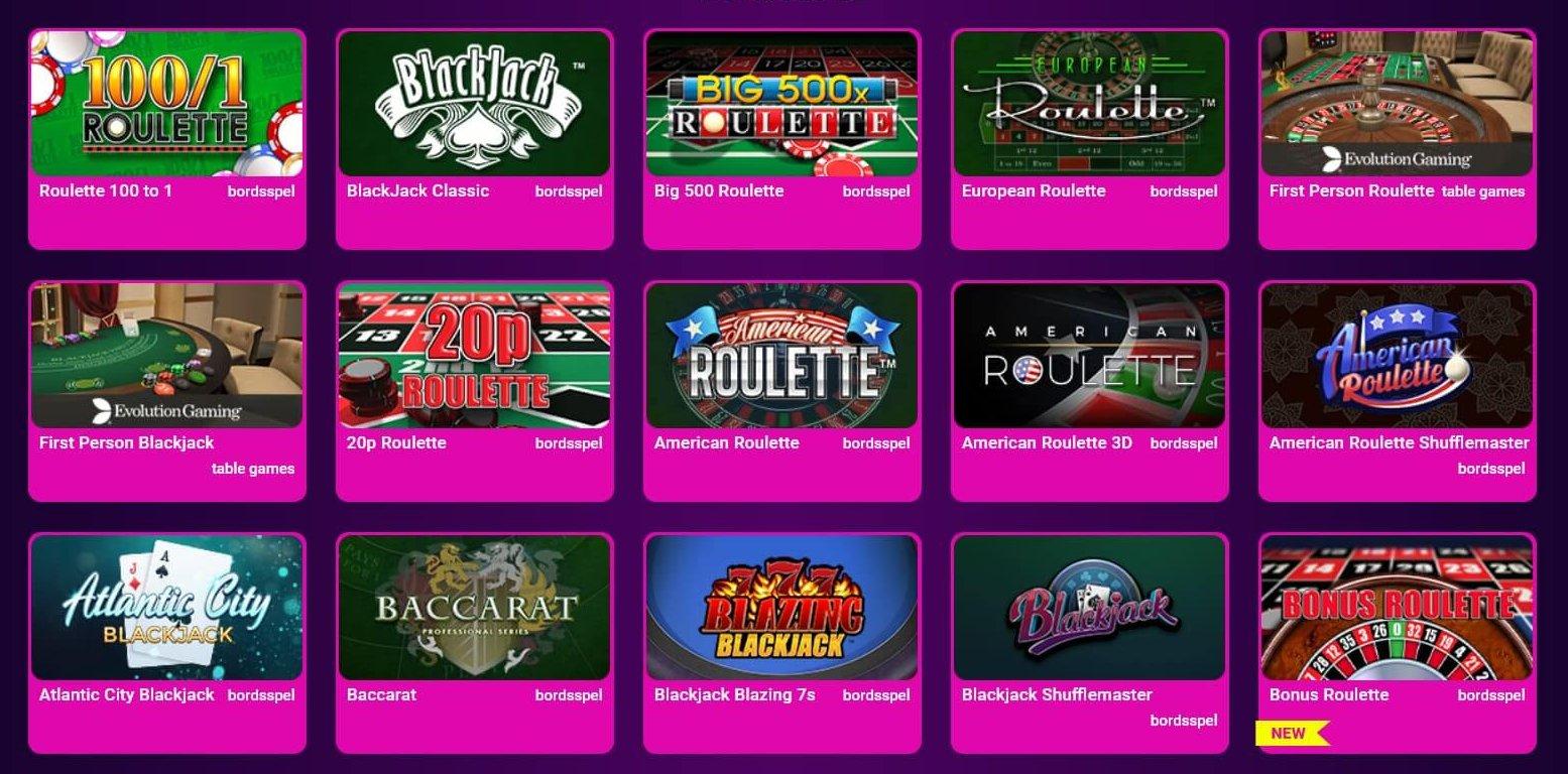 No Bonus Casino erbjuder en välfylld kategori med bordsspel