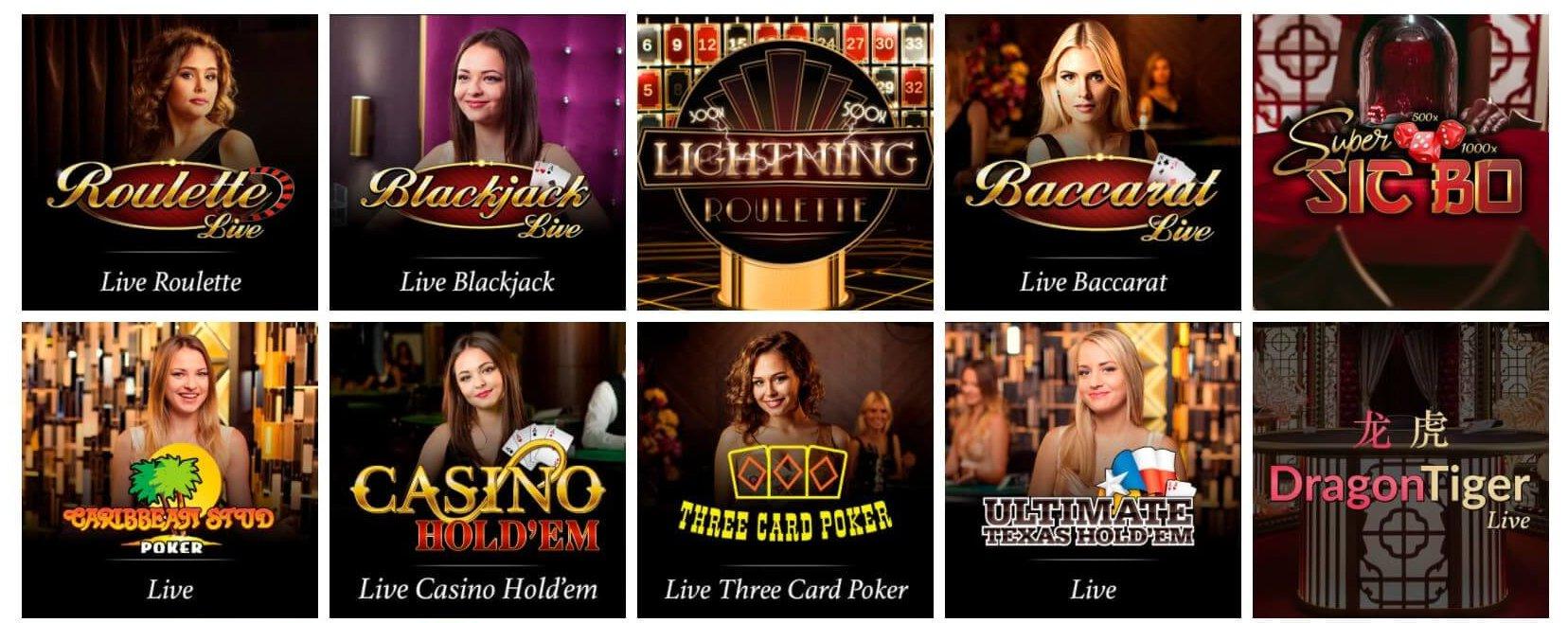 Tio av 666 Casino Live Casino-spel