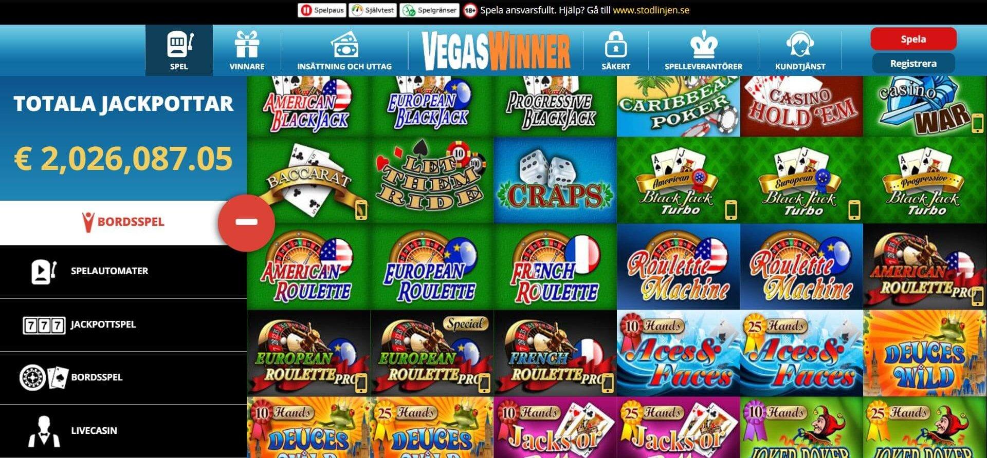 Många bordsspel i en annorlunda layout - på Vegas Winner