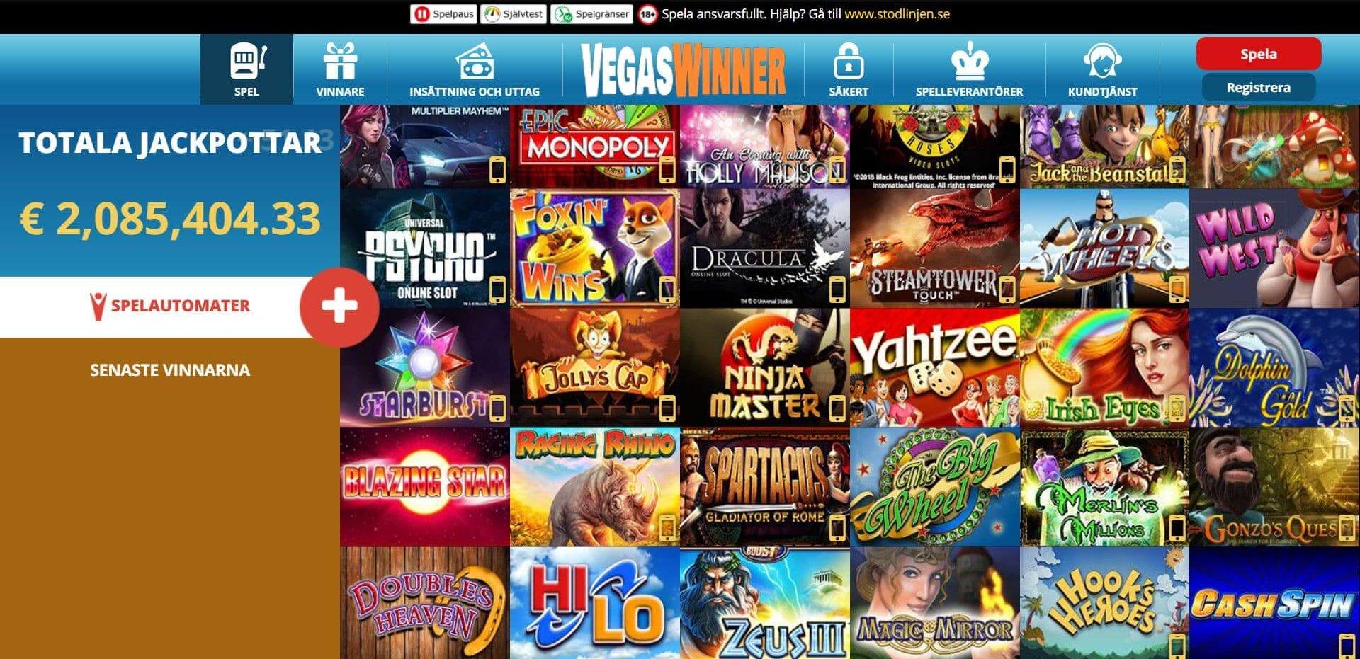 Vegas Winner ger dig en blandad kompott med härliga spel