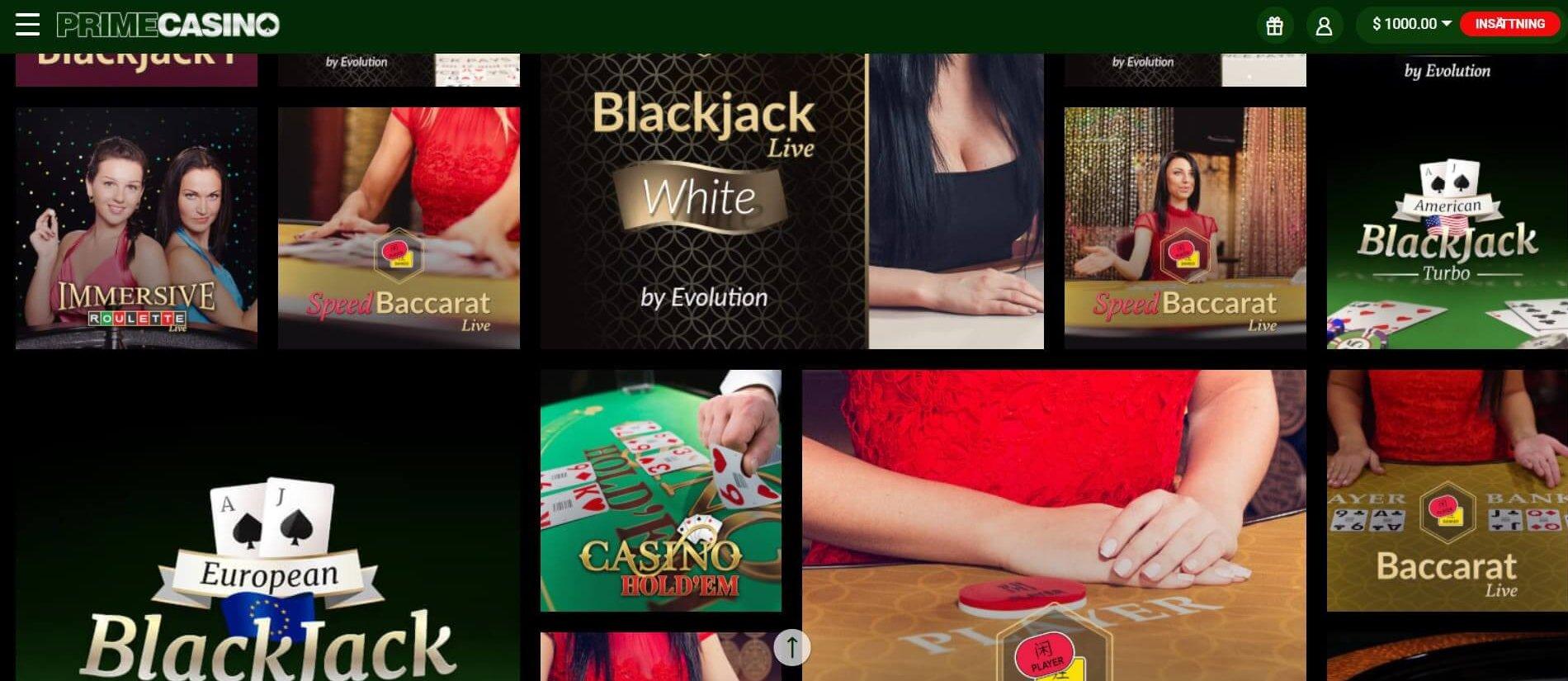 Klicka på ett live-/bordsspel för att komma till Prime Casinos kompletta lobby