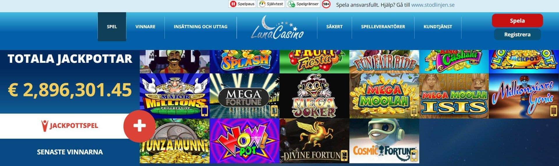 Luna Casino har ett häftig spelutbud men sajtens layout speglar tyvärr inte innehållet