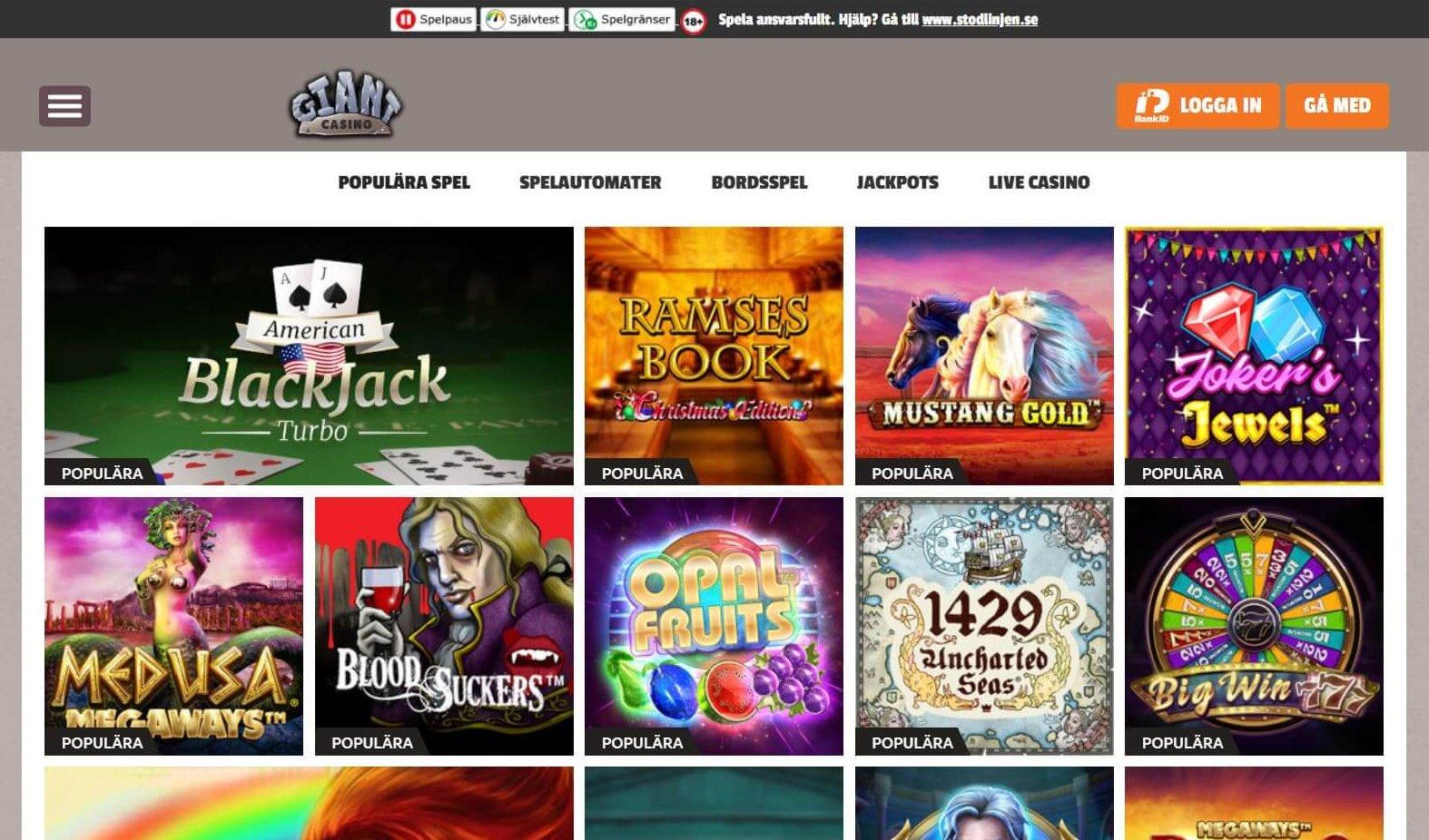 Giant Casino har en användarvänlig sajt fyllt med mängder av spel
