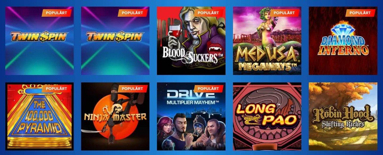 Kolla in listan med spel där nya som gamla slots finns!