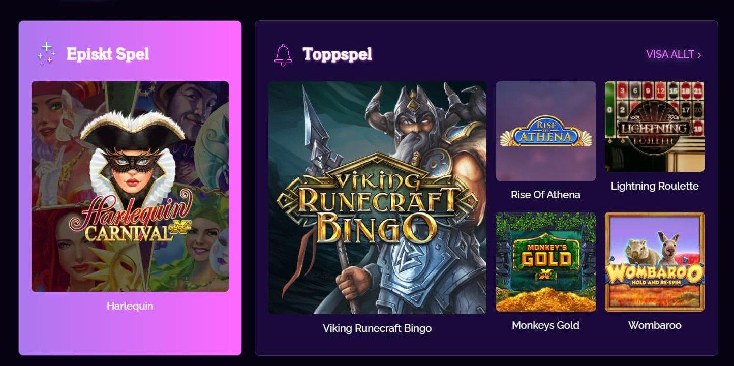 Startsidan för spel hos Casino Epic ger dig en speciell indelning med speltips