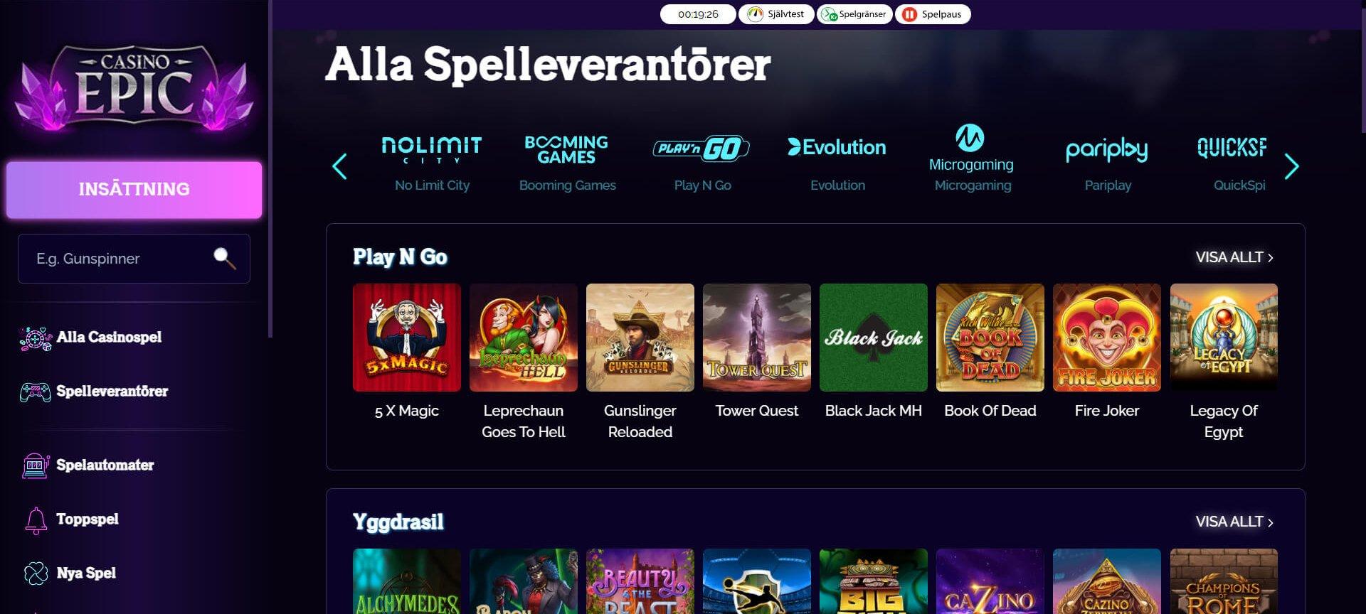 Välkommen till unika Casino Epic!