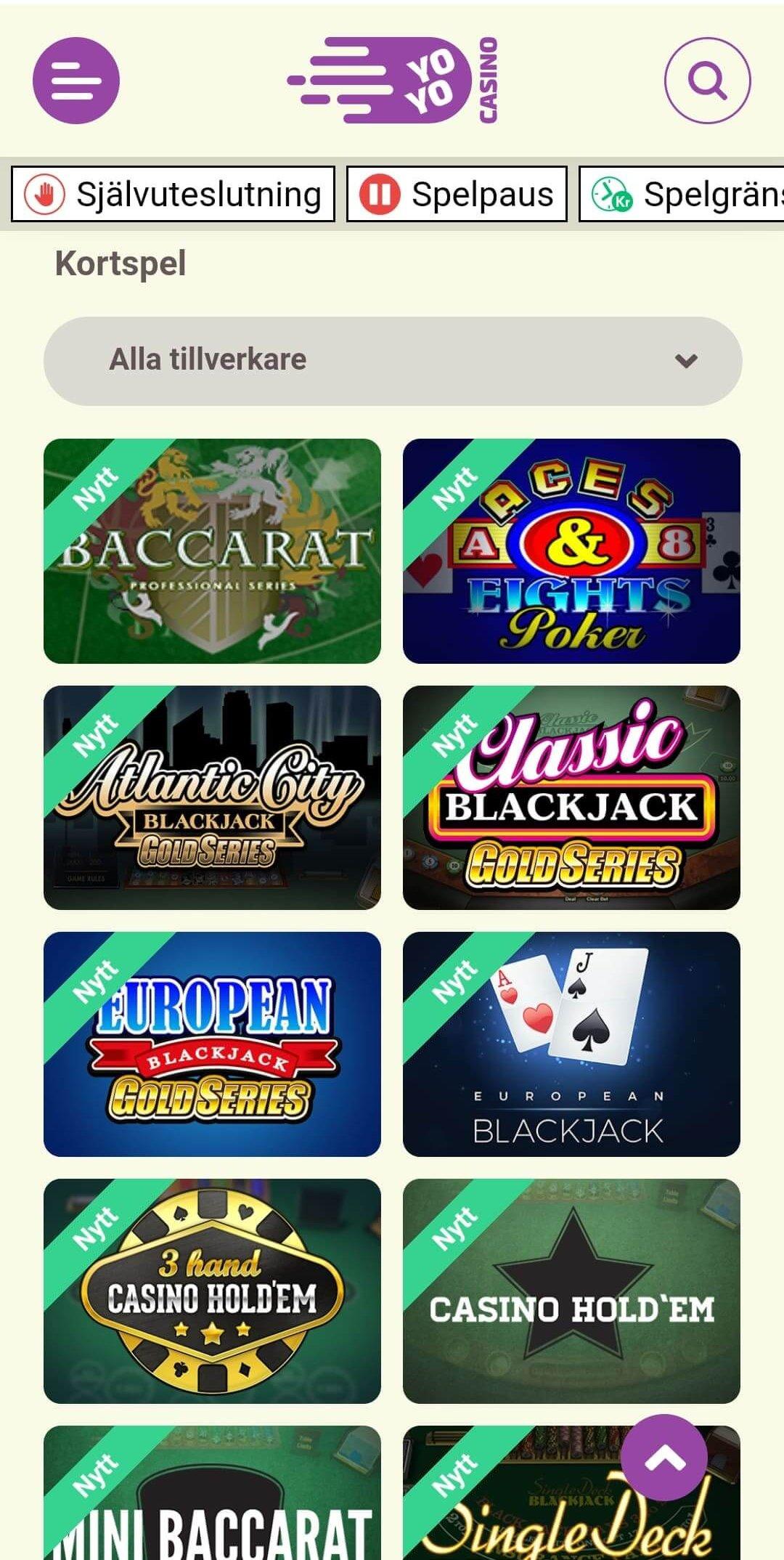 Permainan kartu di YoYoCasino berfungsi dengan baik di ponsel maupun di web